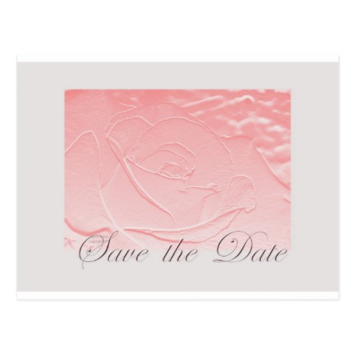Pink and Gray Save The Date  Rose Edwardian Postcard