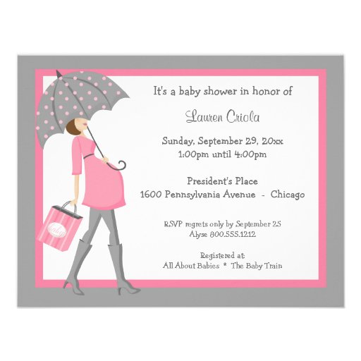 pink and gray shopper baby shower invitation zazzle