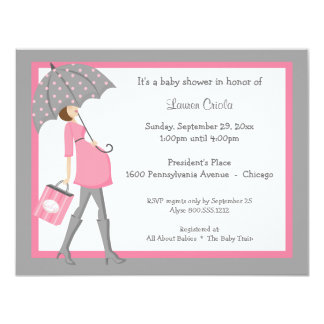 """Pink And Gray Shopper Baby Shower Invitation 4.25"""" X 5.5"""" Invitation Card"""