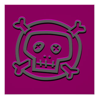 Pink and Gray Skull and Crossbones Posters