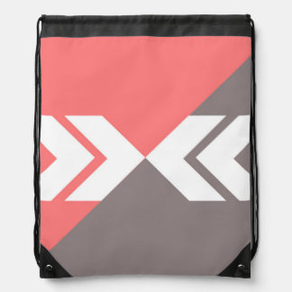 Pink and Gray Slash Arrow, Modern, Sleek Drawstring Backpack
