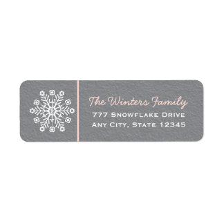 Pink and Gray Snowflake Return Address Labels