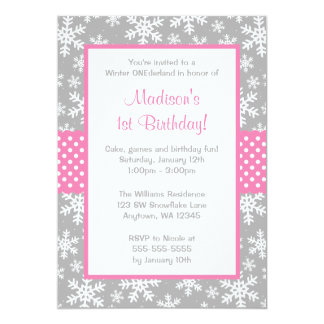 Pink and Gray Snowflakes Winter Onederland 5x7 Paper Invitation Card