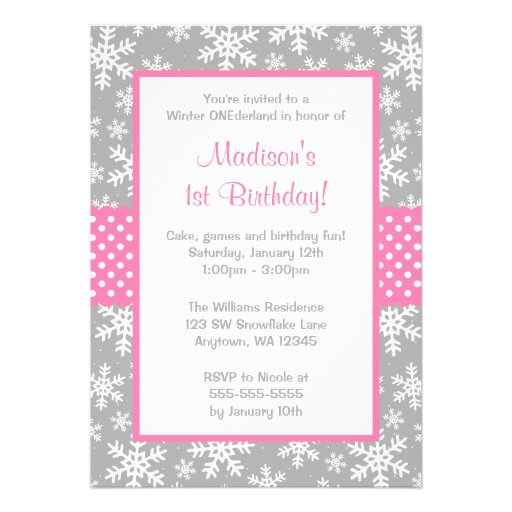 Pink and Gray Snowflakes Winter Onederland Custom Invites