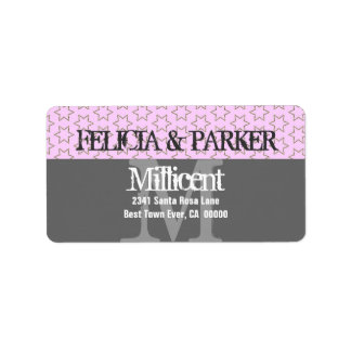 Pink and Gray Stars Wedding Monogram E257 Address Label