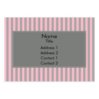Pink and Gray Stripes Pattern Large Business Cards (Pack Of 100)