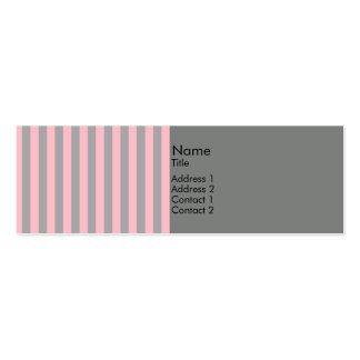 Pink and Gray Stripes Pattern Mini Business Card