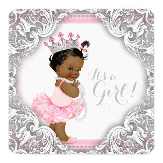 Pink and Gray Tutu Ethnic Girl Baby Shower Card