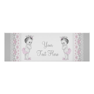 Pink and Gray Twin Baby Girl Princess Poster