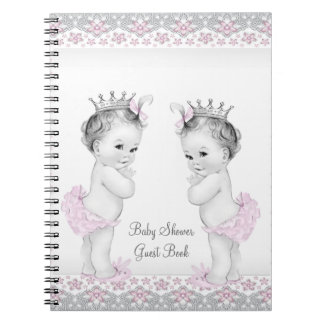 Pink and Gray Twins Baby Shower Guest Book Spiral Notebooks