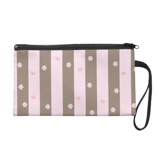 Pink and Gray Valentine Heart Pattern Wristlet Purses
