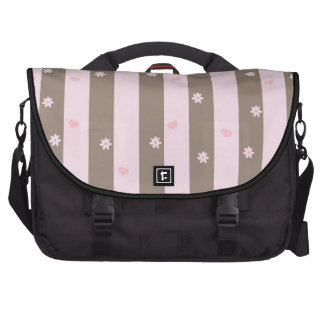 Pink and Gray Valentine Heart Pattern Laptop Bags