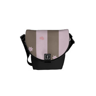 Pink and Gray Valentine Heart Pattern Messenger Bag