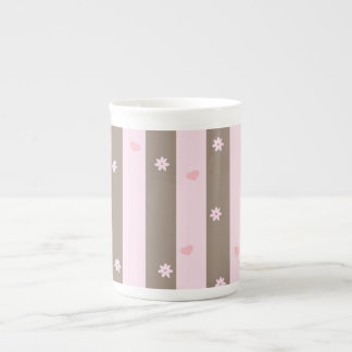 Pink and Gray Valentine Heart Pattern Tea Cup