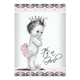 Pink and Gray Vintage Baby Girl Shower 3.5x5 Paper Invitation Card