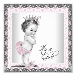 Vintage baby shower invitations announcements zazzle pink and gray vintage baby girl shower card filmwisefo Images