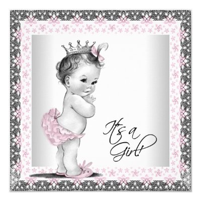 vintage pink and gray baby girl shower card | zazzle,