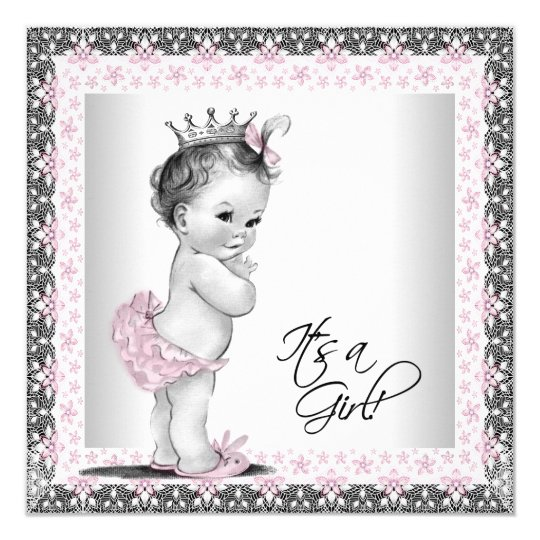 Pink And Gray Vintage Baby Girl Shower Card