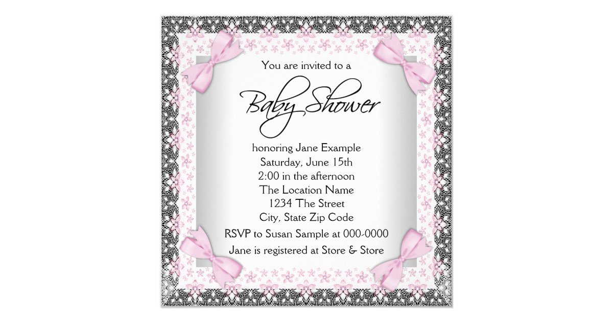 Pink And Gray Vintage Baby Girl Shower Card Zazzle