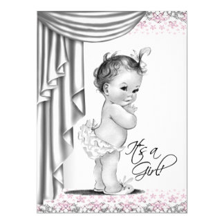 Pink and Gray Vintage Baby Girl Shower Custom Invite