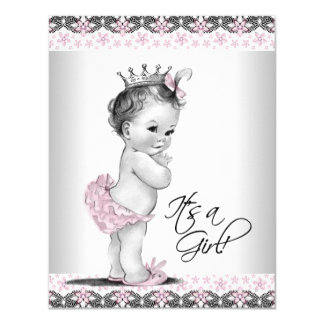 Pink and Gray Vintage Baby Girl Shower Custom Invitation