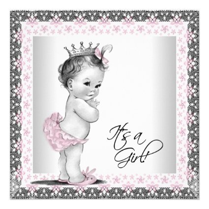 The best baby shower supplies personalized vintage princess baby pink and gray vintage baby girl shower personalized invitation filmwisefo