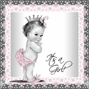 Vintage baby shower invitations zazzle pink and gray vintage baby girl shower invitation filmwisefo