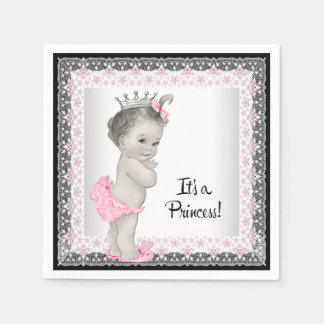 Pink and Gray Vintage Baby Girl Shower Napkin