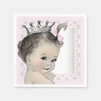 Pink and Gray Vintage Baby Girl Shower Paper Napkin