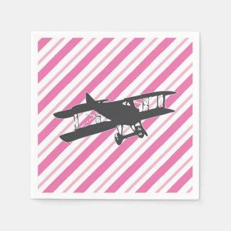 Pink and Gray Vintage Biplane Airplane Napkins