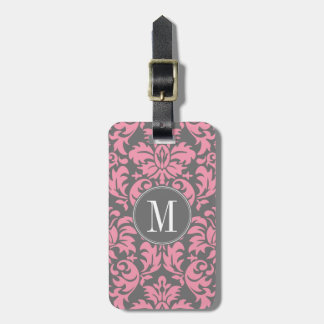 Pink and Gray Vintage Damask Pattern Bag Tag