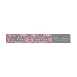 Pink and Gray Vintage Damask Pattern Wrap Around Label