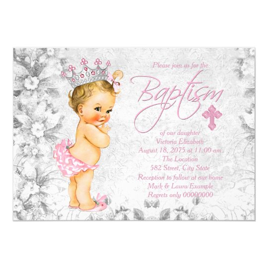 Pink And Gray Vintage Princess Baptism Invitation Zazzle Com