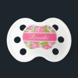 """Pink and Gray Vintage Roses Monogram Pacifier<br><div class=""""desc"""">Custom designed pacifier for baby girl with a girly vintage rose floral print and polka dots. Personalize the design with a custom name monogram for a sweet gift for a new mom or baby shower present! Click the &quot;Customize It&quot; button to change fonts and colors for a unique one of...</div>"""
