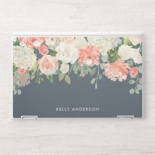 Pink and Gray Watercolor Floral with Your Name HP Laptop Skin