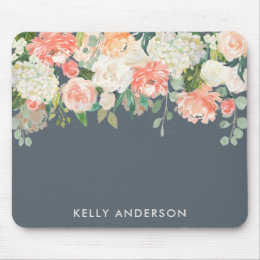 Pink and Gray Watercolor Floral with Your Name Mouse Pad