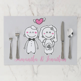 Pink And Gray Wedding Cartoon Bride And Groom Paper Placemat