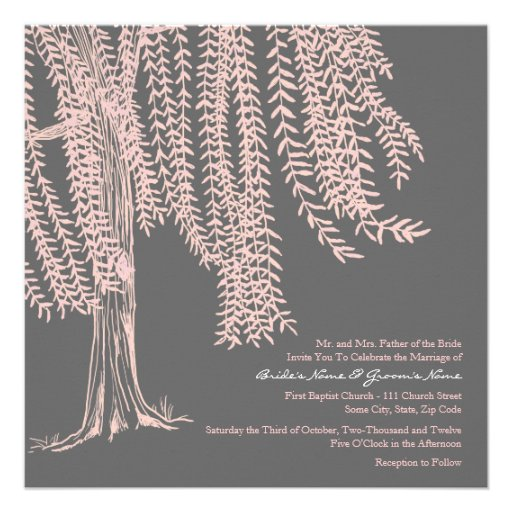Pink and Gray Willow Tree Wedding Invitation
