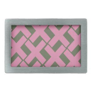 Pink and Gray Xs Rectangular Belt Buckle