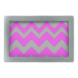 Pink and Gray ZigZag Chevron Rectangular Belt Buckles