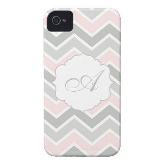 Pink and Gray Zigzag Chevron Monogram Case-Mate iPhone 4 Cases