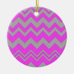 Pink and Gray ZigZag Chevron Christmas Tree Ornaments