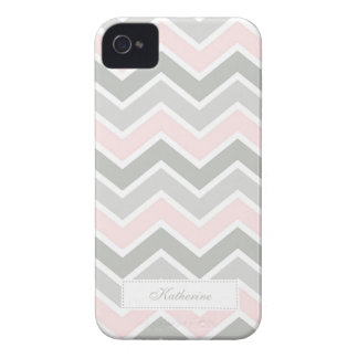 Pink and Gray Zigzag Chevron Pattern iPhone 4 Case