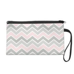 Pink and Gray Zigzag Chevron Pattern Wristlet