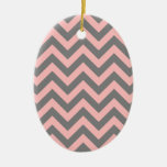 Pink and Gray Zigzag Christmas Tree Ornaments