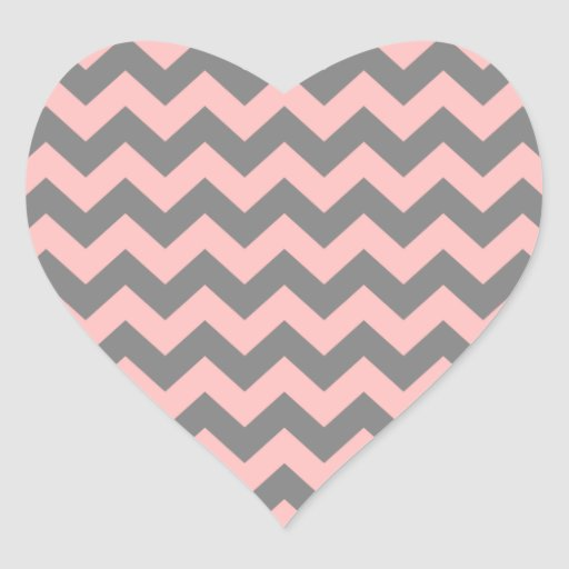 Pink and gray zigzag heart stickers zazzle