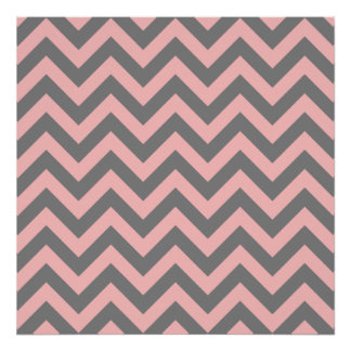 Pink and Gray Zigzag Poster