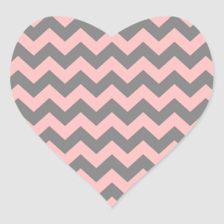 Pink and Gray Zigzag Heart Stickers