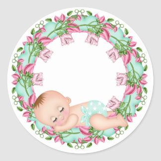 Pink and Gree Baby Shower Sticker with Baby floral