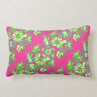 Pink and Green Abstract Art Pillow For Teens